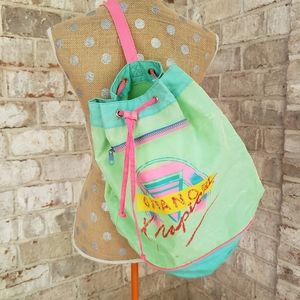 Vintage Gitano tropics drawstring bucket backpack